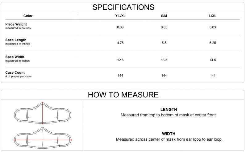 mask size chart for band