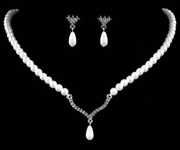 Pearl Teardrop Necklace & Earrings Set