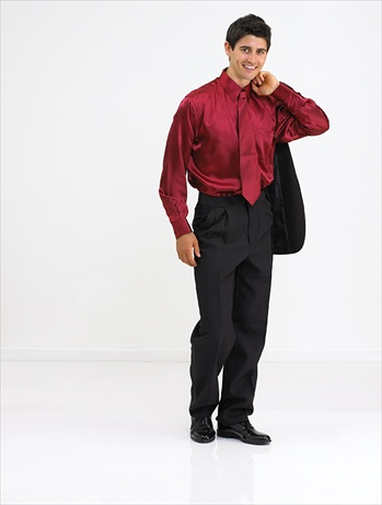 Frank Satin Dress Shirt with Polyester Dress Trousers