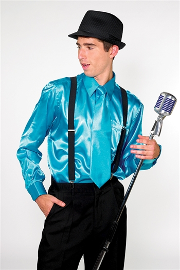 Frank Satin Dress Shirt with Matching Tie and Hanky
