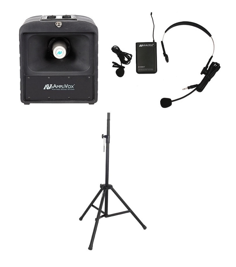 Amplivox SW6821 Basic Wireless Mega Hailer Bundle with Headset and Lapel Microphone
