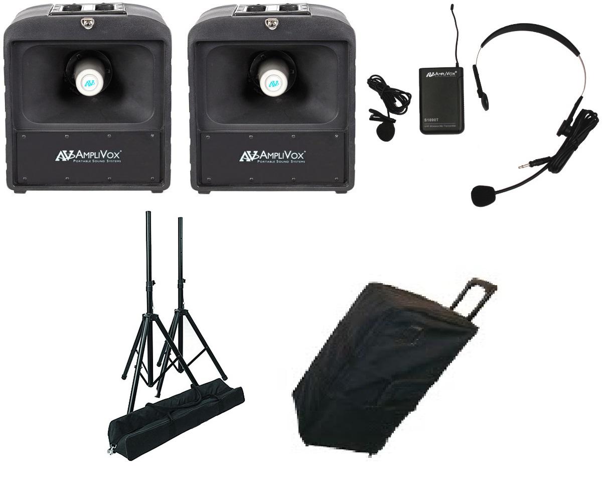 Amplivox SW6823 Premium Mega Hailer Bundle with Headset and Lapel Microphone