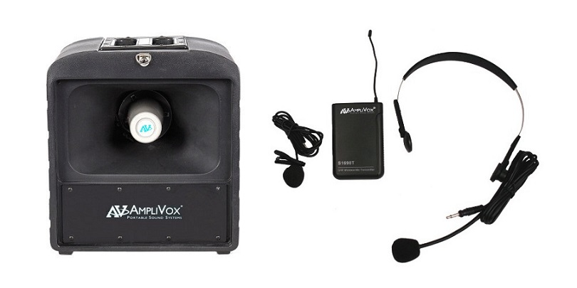 Amplivox SW680 Mega Hailer PA with Headset and Lapel Microphone